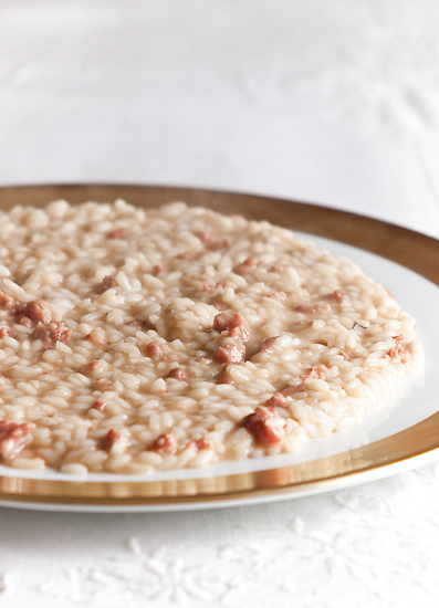 Risotto all'Isolana con pasta di salame