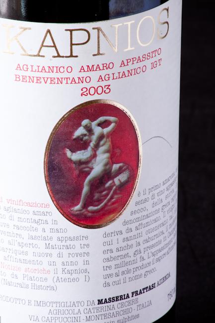 Kapnios 2003, l'amarone campano