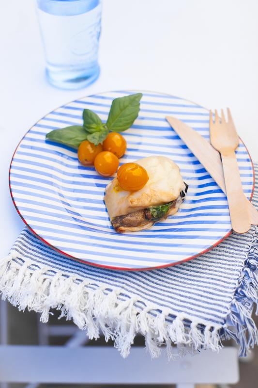 Scamorza affumicata ripiena di melanzane fritte